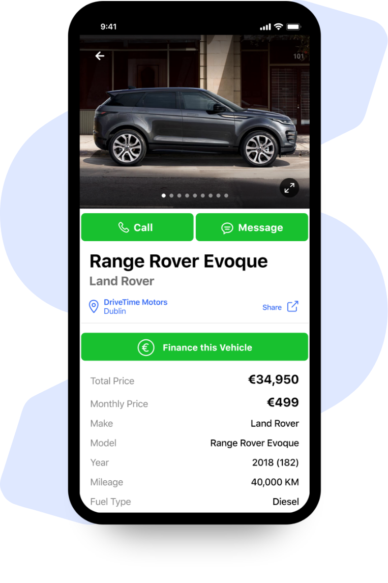 Image of mobile application to find new vehicles
